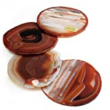 "The Royal Gift Shop: Gift Set of Four Genuine Brazilian 3.5""-4"" Red Rust Agate Drink Coasters... Plus a Complimentary Coaster GIFT FOR YOU!"