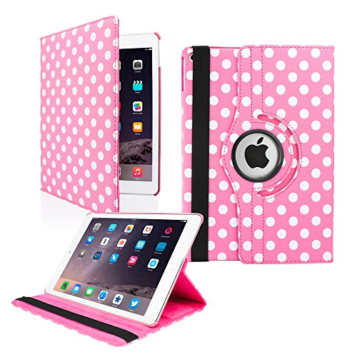 GEARONIC TM for Apple iPad Air 2 360 Degree Rotating Stand Smart Cover PU Leather Swivel Case - Pink Polkadot