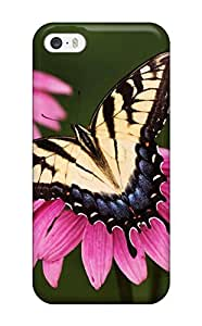 Excellent Iphone 5/5s Case Tpu Cover Back Skin Protector Tiger Swallowtail Butterfly Purple Coneflower