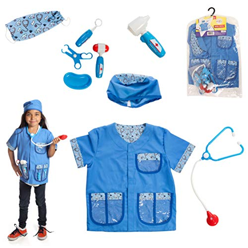 Dress 2 Play Animal Doctor Pretend Costume, 9 Piece Dress up Set with Accessories -