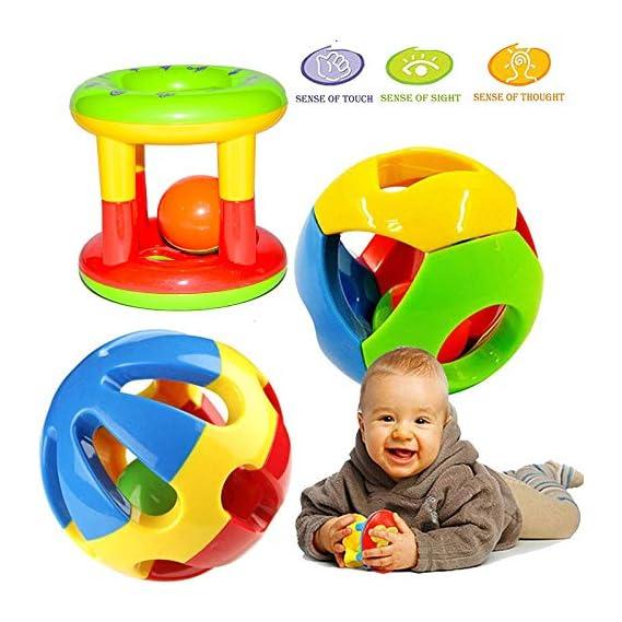 Vibgyor Vibes Kid's Shake and Grab Ball, Educational and Developmental Toys with Storage Bag Baby Rattles-Set of 3
