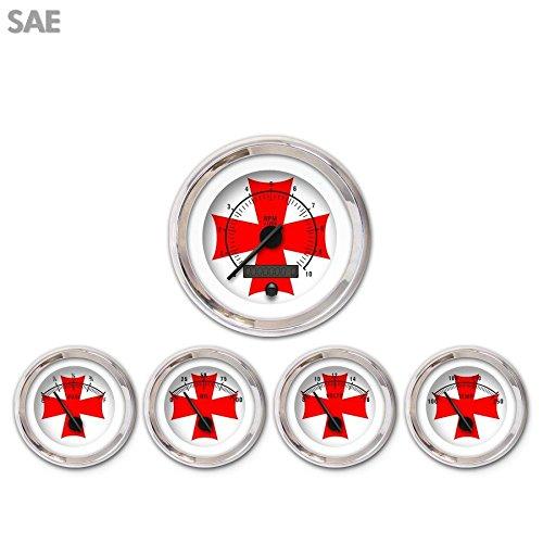 Aurora Instruments 1679 Iron Cross White Red Cross SAE 5-Gauge Set Black Modern Needles, Chrome Trim Rings, Style Kit Installed