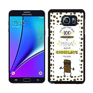 Funda carcasa para Samsung Galaxy Note 5 frase no hay mal que 100 años dure ni pena que el chocolate no cure borde negro