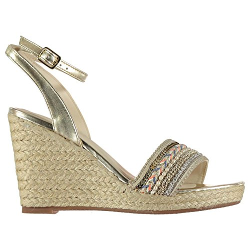 Miso Damen Jess Wedge Sandalen Keilabsatz Sandalette Knöchelriemen Gold 7 (40)