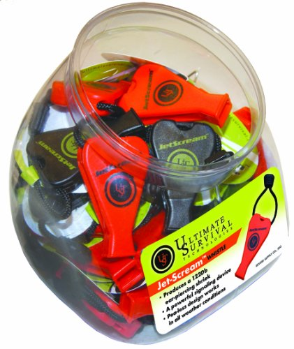 Ultimate Survival Technologies JetScream Whistle (Pack of 40 in a Cookie Jar), Assorted