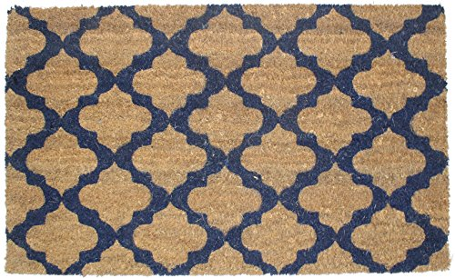 J & M Home Fashions Moroccan Blue Vinyl Back Coco Doormat, 1