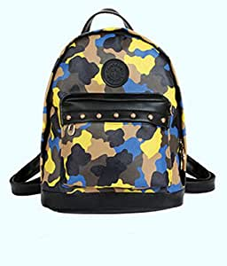 Women's Racksack Fashion Leisure Camouflage Small Backpack Travel Pack (Blue)
