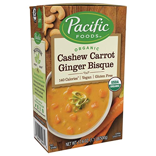 (Pacific Foods Organic Cashew Carrot Ginger Bisque, 17.6-Ounce Cartons, 12-Pack )
