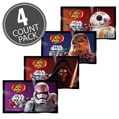 Jelly Belly Star Wars Galaxy Mix 1oz bags with Sparkling Jelly Bellys (4 Pack Set (assorted star wars (Star Wars Candy)