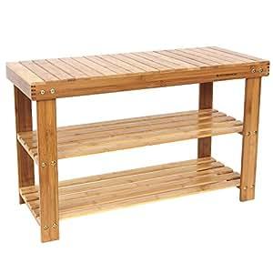 SONGMICS 2-tier Shoe Bench Organizing Rack Entryway Storage Shelf 100% Bamboo ULBS04N