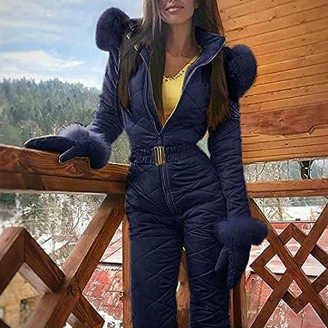 Ropa de Snowboard con Capucha de Dama de Invierno Wcjing Traje de Nieve c/álido de Invierno para Mujer Deportes al Aire Libre Trajes de esqu/í de Nieve Pantalones Impermeables de Mono