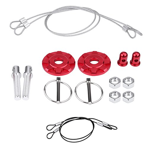 Hood Pin Appearance Kit - Acouto CNC Aluminum Alloy Car Racing Hood Pin Lock Appearance Kit Universal(Red)