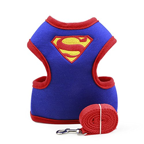 Chicpaw Adjustable Small Pet Dog Cat Harness with Leash Cartoon Puppy Soft Vest Harness (S, Blue Superman)