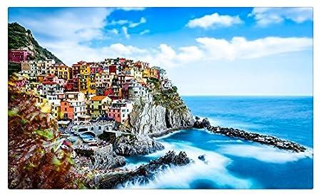 Italia costa montañas casas mar hdr nubes Manarola, Cinque Terre ...