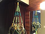 Macrame Plant Hanger TURQUOISE and Yellow 12 BLACK BEADS