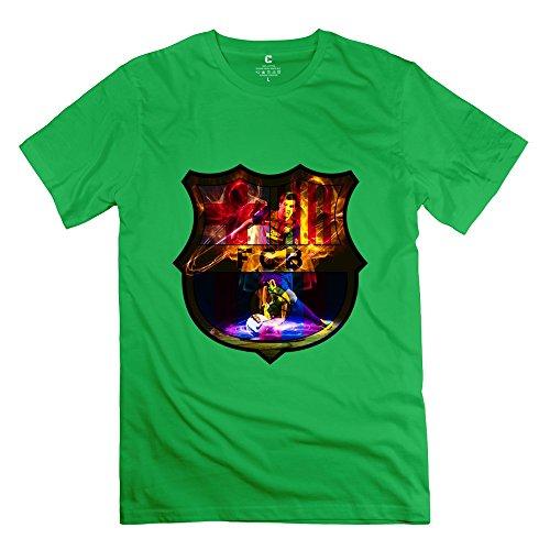 Cute Andres Messi FCB Logo Men's T-shirt ForestGreen Size XL