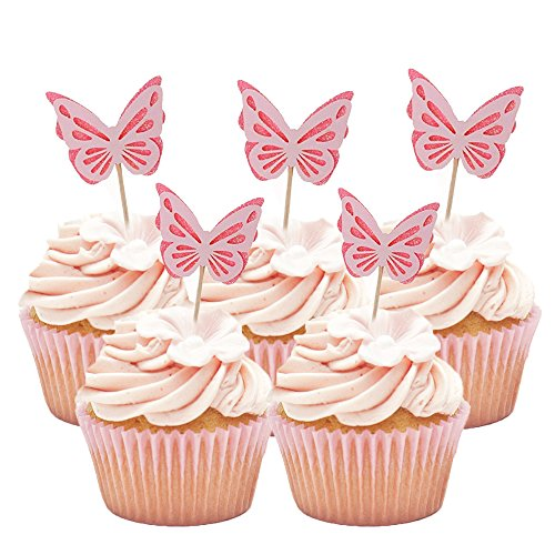 HZOnline Butterfly Glitter Cupcake Cake Toppers, Baby Shower Dessert Food Picks, Kids Birthday Party Toppers Picks Decorations (20PCS (Butterflies Table Topper)