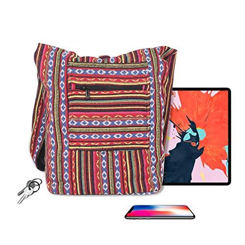 Maha Bodhi Casual Sling Cross Body Shoulder Bag Cotton Purse Hippie Boho Bohemian Handbag ~ Multi ()