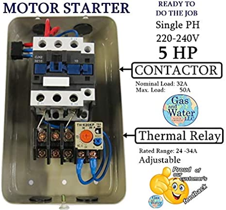2wire 220 air compressor wiring diagram magnetic electric motor starter control 5 hp single phase 220 240v  electric motor starter control 5 hp