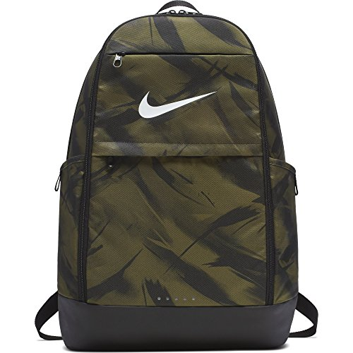 NIKE Brasilia All Over Print Backpack, Olive Flak/Black/White, X-Large
