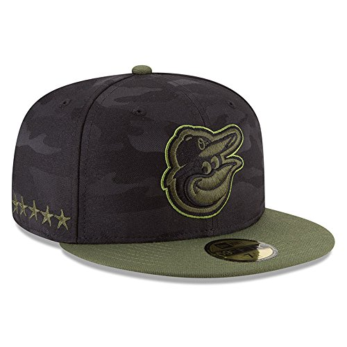 New Era Baltimore Orioles 2018 Memorial Day On-Field 59FIFTY Fitted Hat - Black/Olive (7 1/4)