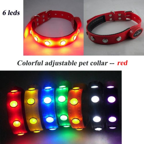 Liying New Designed Pet Collar Fashion TPU Nylon Jewel Led Flashing Light Dog Collar - Suitable for Walking Your Pets At Night, Dark Environment, Outdoor, Pet Movement, Etc. (red, M)