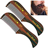 Giorgio G57 2.75'' 73mm (2 Pack) X-Small Men's Fine Toothed Beard and Mustache Comb for Facial hair Grooming. Hand-Made of Cellulose Acetate, saw-cut. Perfect pocket man moustache comb.(Tortoise)
