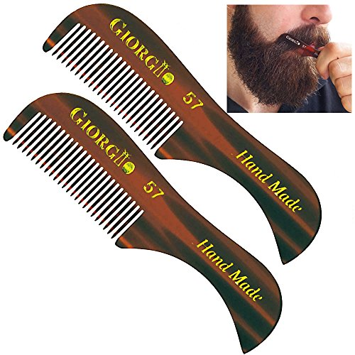 Giorgio G57 2.75″ 73mm (2 Pack) X-Small Men's Fine Toothed Beard and Mustache Comb for Facial hair Grooming. Hand-Made of Cellulose Acetate, saw-cut. Perfect pocket man moustache comb.(Tortoise)