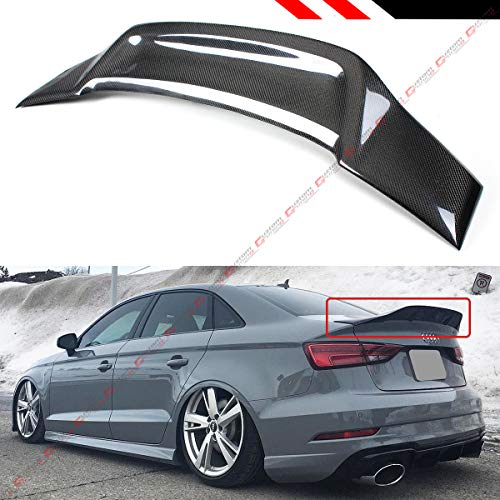 Cuztom Tuning Fits for 2014-2018 Audi A3 S3 RS3 Sedan RT Style Highkick Duckbill Carbon Fiber Rear Trunk Spoiler Wing