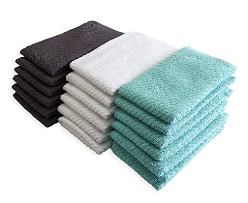 """Bumble Deluxe Barmop Kitchen Towel 6-Pack / 16"""" x 19"""" / Premium Ultra Absorbent Cotton Hand Towels/Quick Drying Tea Towels/Diagonal Weave Thick 2-Ply/Long Lasting - Aqua by Bumble Towels (Image #3)"""