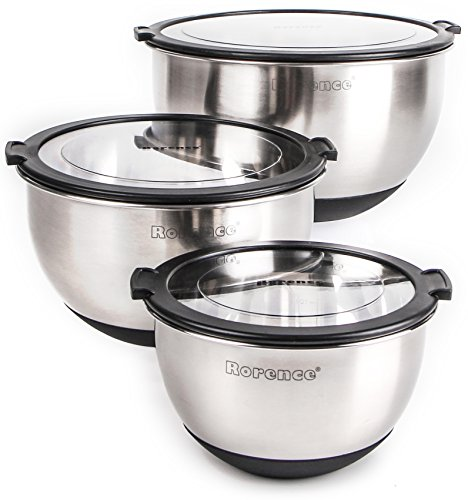 Rorence Stainless Steel Non-slip Mixing Bowls Set of 3 with Transparent Lids - (Plastic Transparent Mirror)