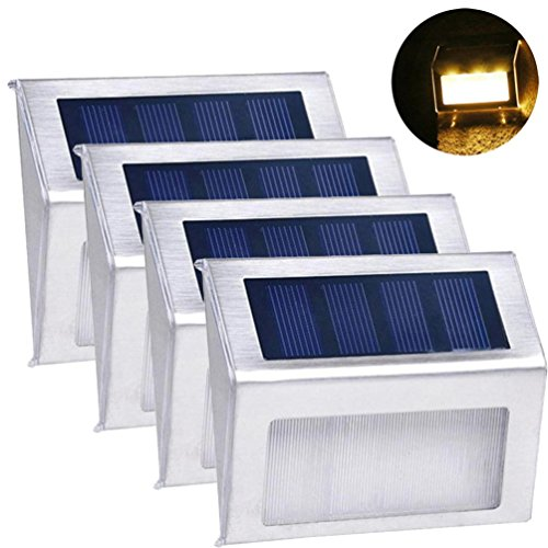 Solar Lights, Hatop 4pcs Outdoor Solar 3LED Stainless Steel Garden Patio Step Stair Deck Lamp Lights (B) by Hatop