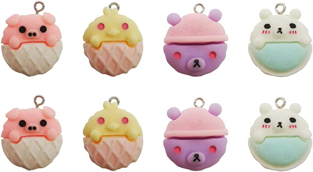WAYEES Cartoon Macaron Food Pendant Charms for Earrings DIY Craft Making Jewery Making Kit/Set Slime Charms Decoden Cabochons Embellishments(8PCS)