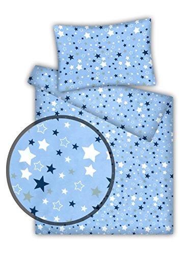 Kinderbettwäsche Stars 2-tlg. 100% Baumwolle 40x60 + 100x135 cm mit Reißverschluss (hellblau)