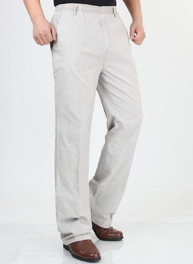 pipigo Mens Straight Loose Fit Elastic Waist Casual Trousers Pants