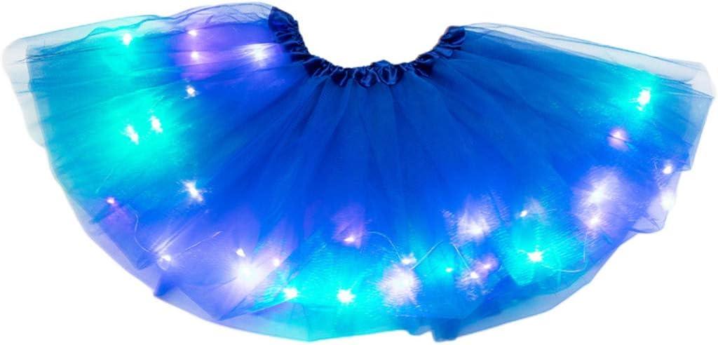 CARRYKT Little Girls LED Light Up Tutu Skirt Neon Colorful Luminous Party Dance Dress
