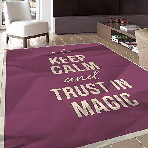 Rug,FloorMatRug,Keep Calm,AreaRug,Keep Calm and Trust in Magic Quote on Purple Crumpled Paper Image with Frame,Home mat,5'x8'Beige Plum,RubberNonSlip,Indoor/FrontDoor/KitchenandLivingRoom/Bed