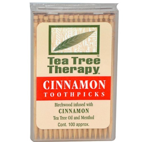 Tea Tree Therapy Toothpicks - Birchwood Infused with Cinnamon Tea Tree Oil and Menthol, 1200 Ct