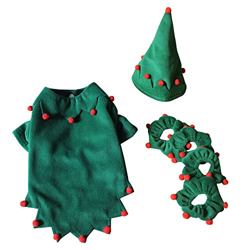 Holiday Costumes Dog (S-Lifeeling Christmas Elf Outfit Dog Costumes Holiday Halloween Pet Clothes Soft Comfortable Dog)