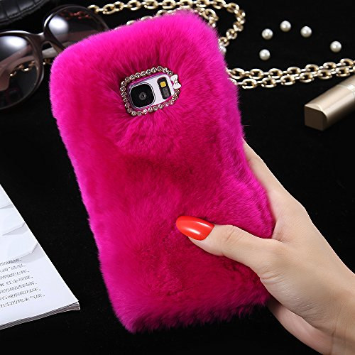 For Samsung Galaxy S7 Edge Case, FLOVEME [Slim Fit] [Bling Diamond] Luxury Winter Soft Warm Faux Rabbit Fur Fuzzy Plush with Crystal Cute Bowknot Protective Back Cover for Girls Xmas Gift, Hot Pink