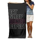 Super Absorbent Beach Towel Eat Sleep Dance Repeat Polyester Velvet Beach Towels 31.551.2 Inch