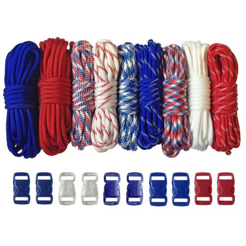 (PARACORD PLANET 550 lb Type III Crafting Kits with Buckles, 120', G-Men )