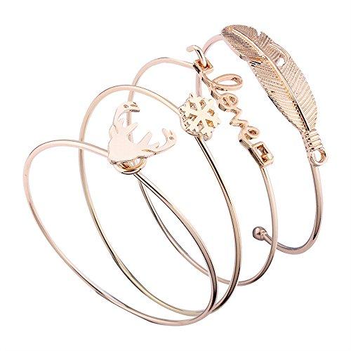 Love Elk - Chenway 4Pcs Women Gold Cuff Multi-Layer Leaf Love Snow Elk Multilayer Bangles Jewelry