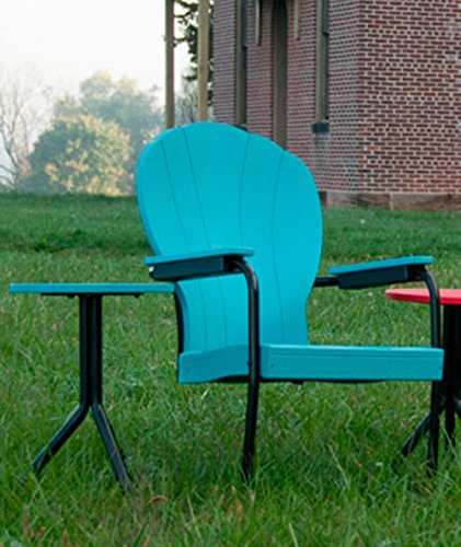 (Retro Lawn Tulip Chair, 50's Style Polywood Outdoor Patio Metal Rocking Chairs, Backyard Deck Porch Outdoor Furniture, Durable Poly wood Seating, Recycled Plastic, 9 Color Choices (Teal))