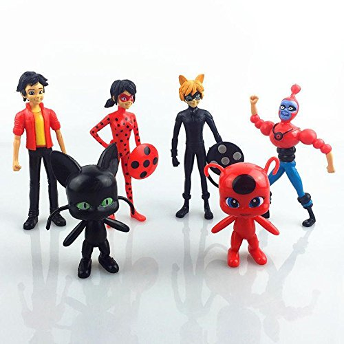 6Pcs/Set pop Miraculous Ladybug Action Figure Tikki Noir Cat
