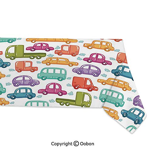 (Space Decorations Tablecloth, Doodle Style Cars with Vibrant Colors Various Types of Vehicles Truck Bus Limousine, Rectangular Table Cover for Dining Room Kitchen, W60xL120 inch)
