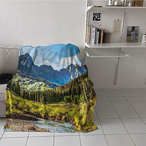- Khaki home Children's Blanket Lightweight Blanket for Sofa Couch Bed (35 by 60 Inch,Landscape,Mountain Vista Thick Forest Trees Mountain Flowing River Grass Cloudy Sky Valley,Multicolor