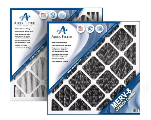 Airex 14x24x1 Carbon MERV 8 Pleated AC Furnace Air Filter, Box of 6 - Actual Size: 13 ⅜ X 23 ⅜ X ¾