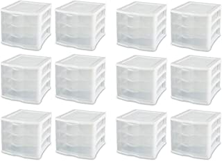 product image for Sterilite Medium Clearview Compact Portable 3 Storage Drawer Organizer Cabinet (12 Pack)