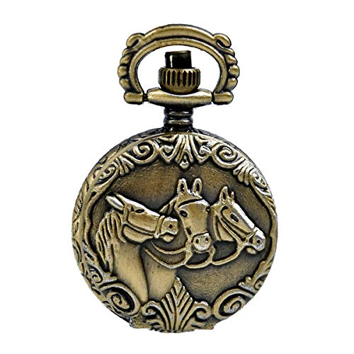 JewelryWe Antique Horses Locket Pocket Watch Quartz White Dial Arabic Numerals Full Hunter Sweater Necklace (Antique Watches Womens)